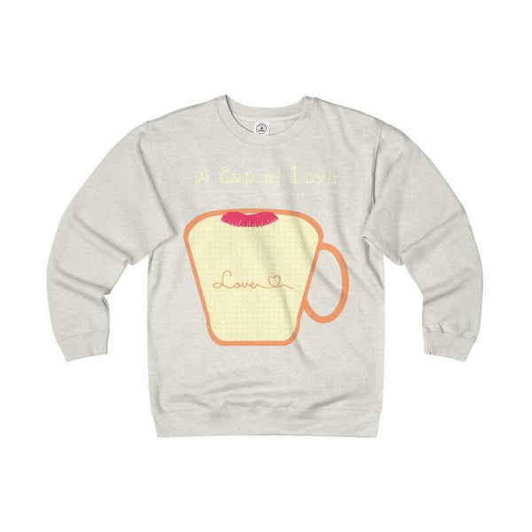 Cup of Love Adult Unisex Heavyweight/Lightweight Fleece Crew-Sweatshirt-famenxt