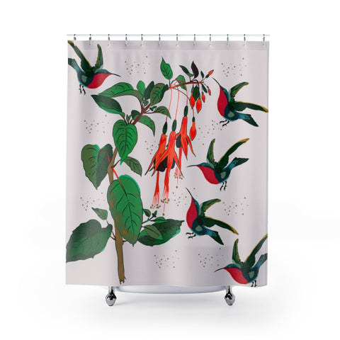 Hummingbirds from #mybirdparadise Collection Shower Curtain and Bath Mats-Home Decor-famenxt