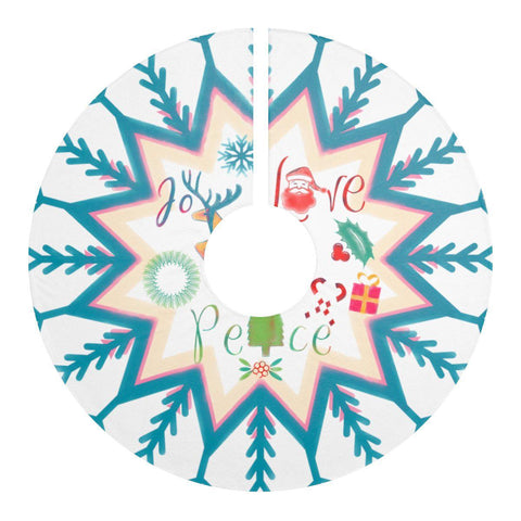 "Joy Love Peace Snowflakes 44"" Christmas Tree Skirt-Home Decor-famenxt"