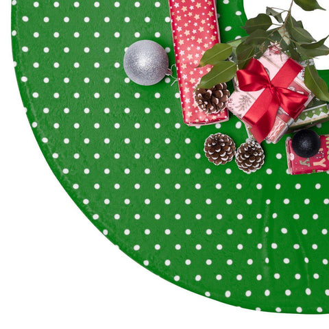"Green Dots 44"" Christmas Tree Skirt-Home Decor-famenxt"