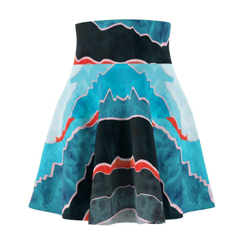 Mountains Blue Women's Skater Skirt-All Over Prints-famenxt