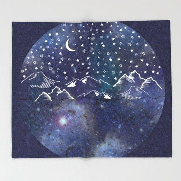 Sun moon stars space Throw Blanket-Throw Blanket-famenxt