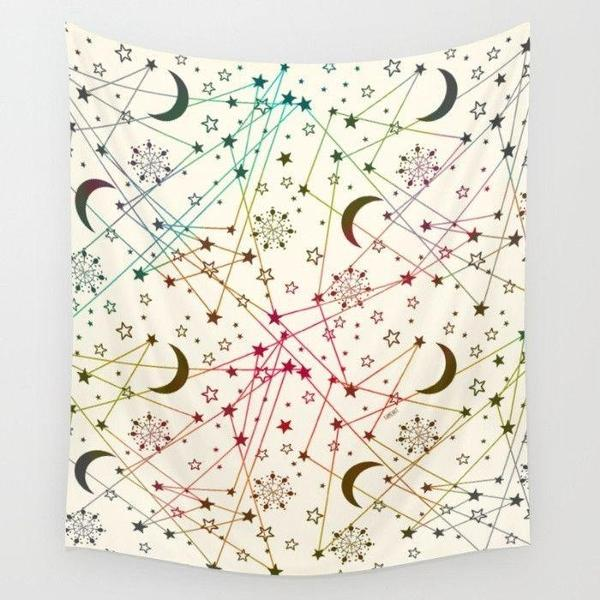 Sun moon stars white space Wall Tapestry-Wall Tapestry-famenxt