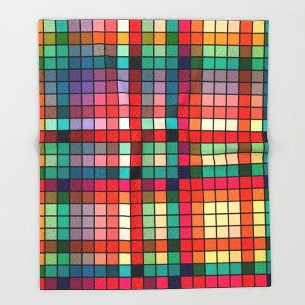 Colorful grid Throw Blanket-Throw Blanket-famenxt