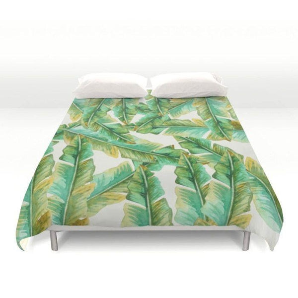 Tropical Banana Leaves Duvet Cover-Duvet Cover-famenxt