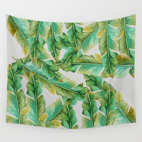 Tropical tapestry, Banana Leaves Wall Tapestry-Wall Tapestry-famenxt