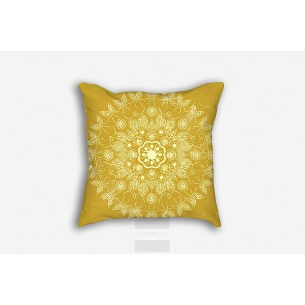 Golden boho ornate Mandala Throw Pillow Case-Pillows-famenxt