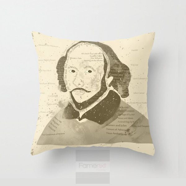 Portrait of William Shakespeare Throw Pillow Case-Pillows-famenxt