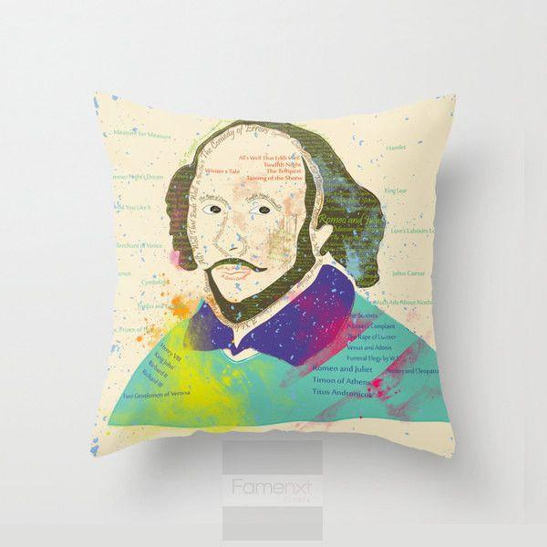 Colorful Typographic Portrait of William Shakespeare Throw Pillow Case-Pillows-famenxt