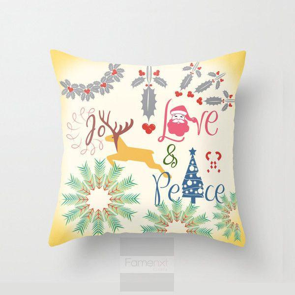 Joy Love Peace Christmas Throw Pillow Case-Pillows-famenxt