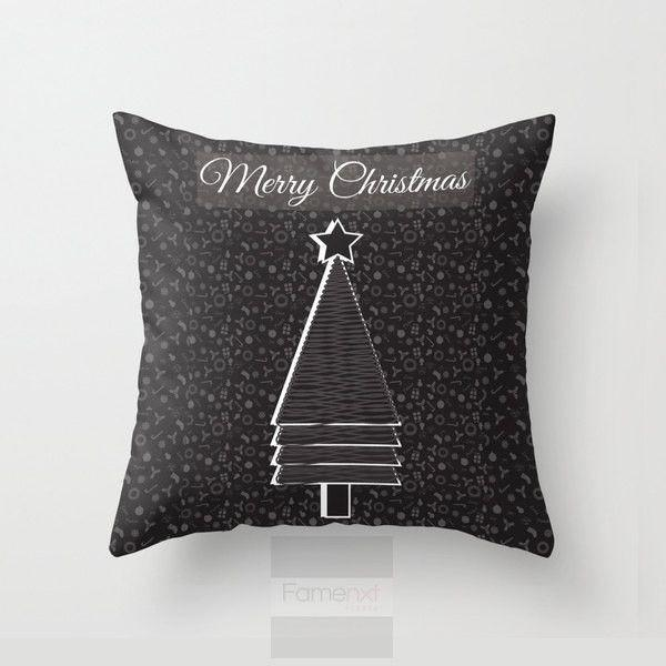 Christmas Tree Illustration Black Throw Pillow Case-Pillows-famenxt