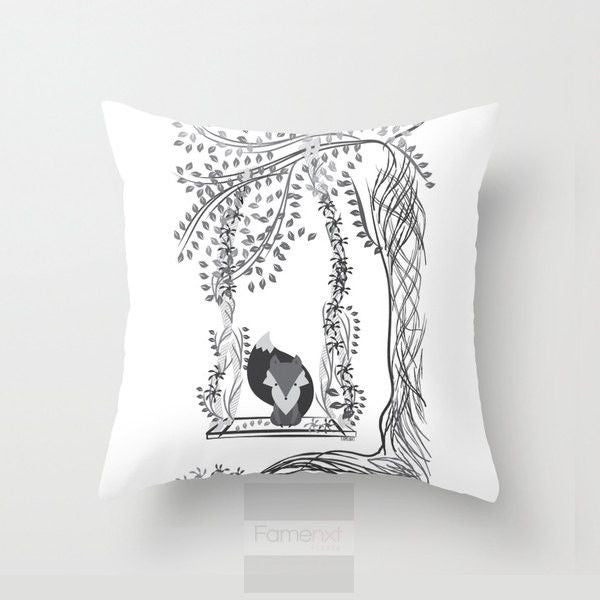 Whimsical Cute Fox Throw Pillow Casever.-Pillows-famenxt