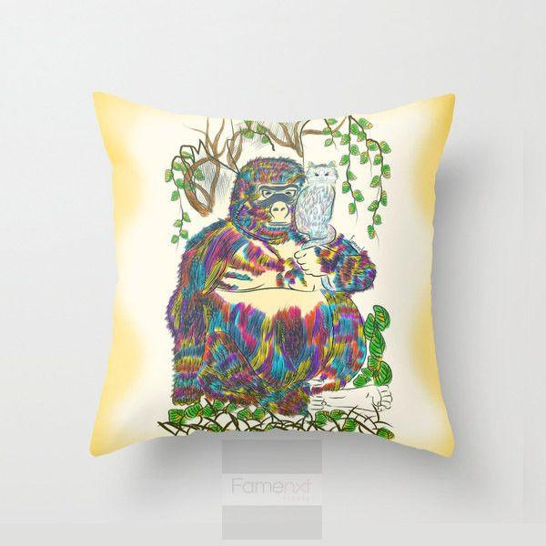 Colorful Gorilla and Cat Throw Pillow Case-Pillows-famenxt