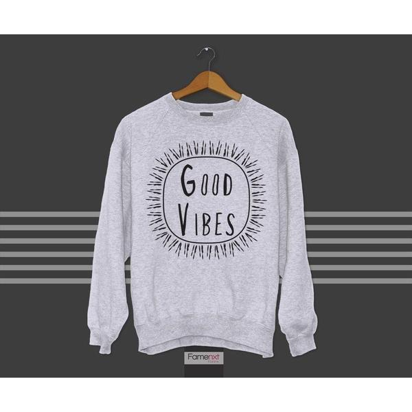 Motivational Quote Typographic Good Vibes Sweatshirt Jumper-Sweatshirt-famenxt