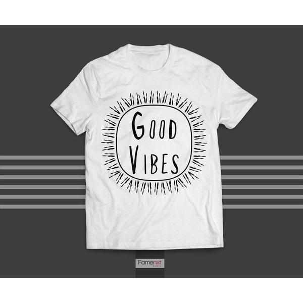 T shirt Motivational Quote Typographic Good Vibes T shirt for Men and Women-T shirt-famenxt