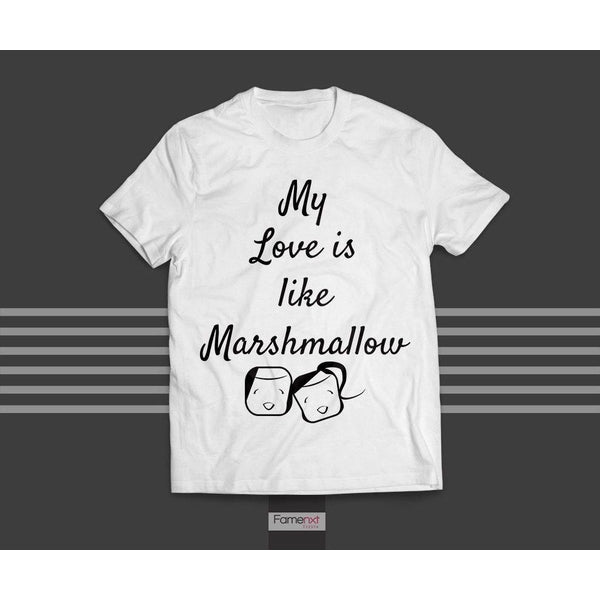 FLAT 20% OFF TODAY! T shirt Funny Marshmallow Love T shirt for Men and Women-T shirt-famenxt