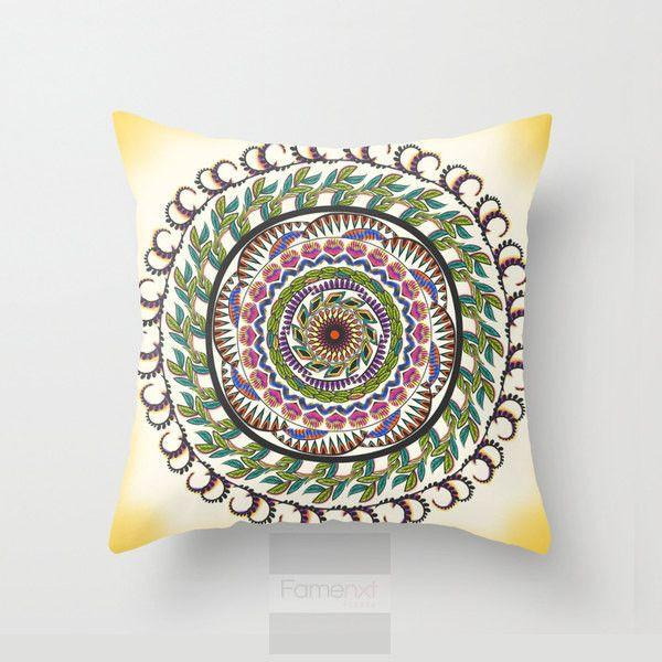 Green Mandala Throw Pillow Case-Pillows-famenxt