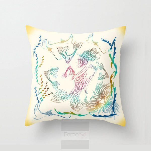 Mermaid Decorative Throw Pillow Case-Pillows-famenxt