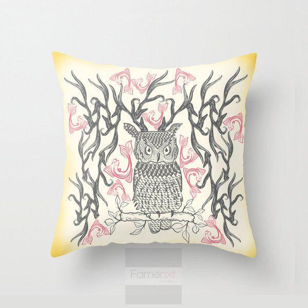 Surreal Owl Throw Pillow Case-Pillows-famenxt