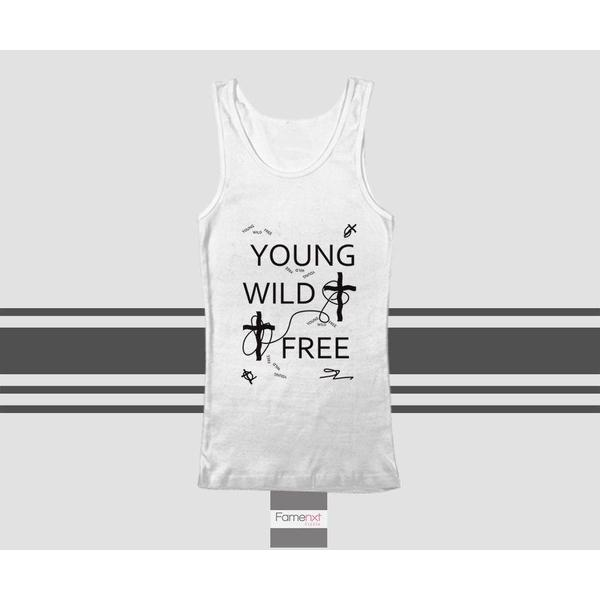 Motivational Young Wild Free Typography Quote Tank Top. Men and Women. Unisex-Tank top-famenxt