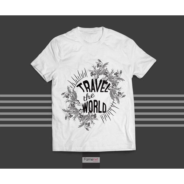 T shirt Travel the World Typographic Quote Graphic T shirt for Men and Women-T shirt-famenxt