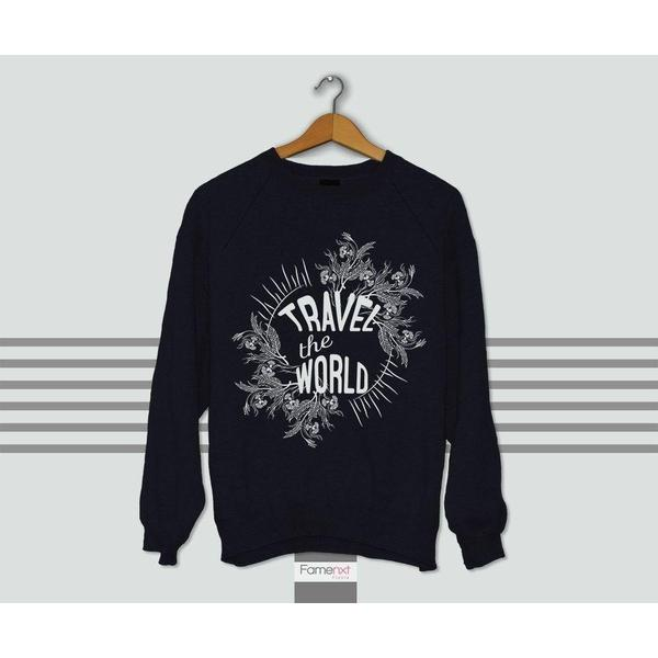 Travel the World Typographic Quote Graphic Sweatshirt Jumper-Sweatshirt-famenxt