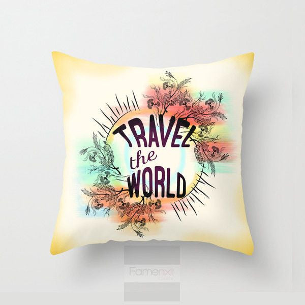 Travel the world Throw Pillow Case-Pillows-famenxt