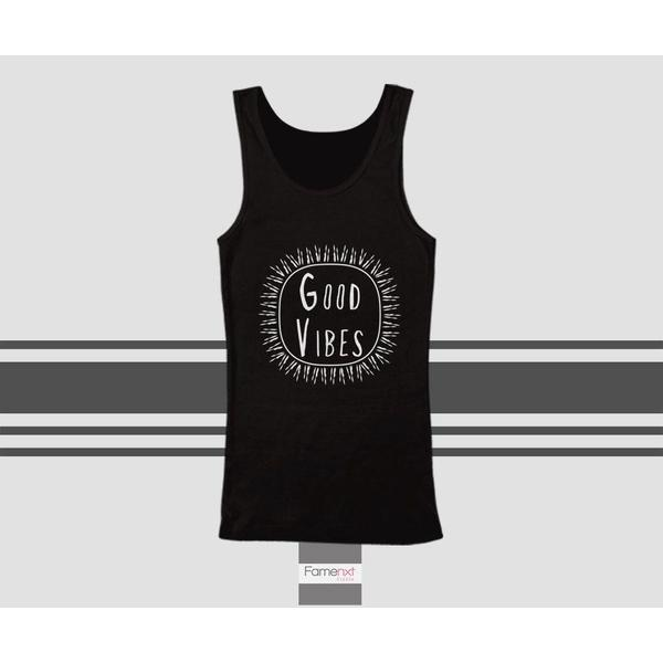 Motivational Good Vibes Typography Quote Tank Top. Men and Women. Unisex-Tank top-famenxt