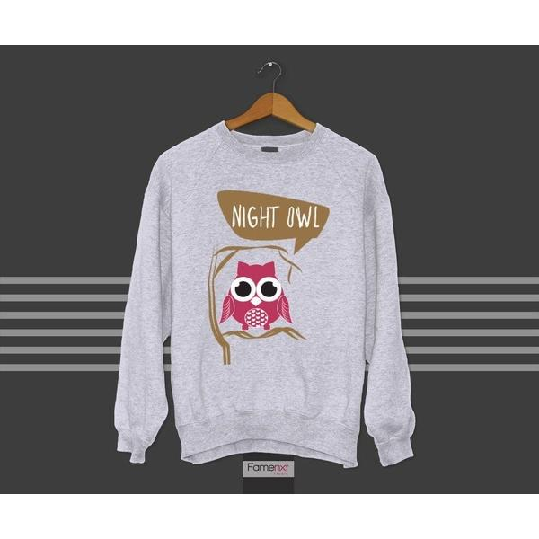 Cute Night Owl Graphic Sweatshirt Jumper-Sweatshirt-famenxt