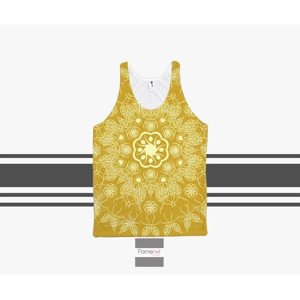 Golden Boho Tank Top mandala patterns for Men and Women. Unisex-Tank top-famenxt
