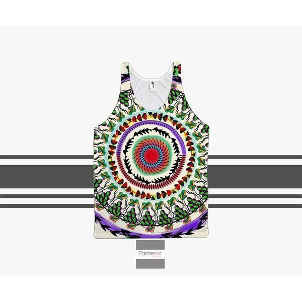 Colorful Boho Detailed Grapes Wine Tank Top mandala pattern for Men and Women. Unisex-Tank top-famenxt