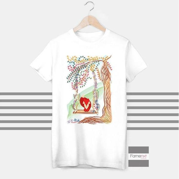 Unique Fox Playing in Jungle colorful T shirt Boho T shirt for Men and Women-T shirt-famenxt