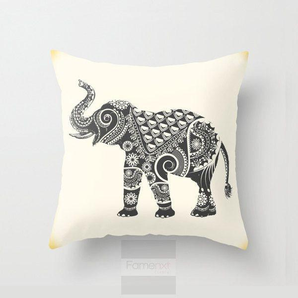 Ornamental Indian Elephant Throw Pillow Case-Pillows-famenxt