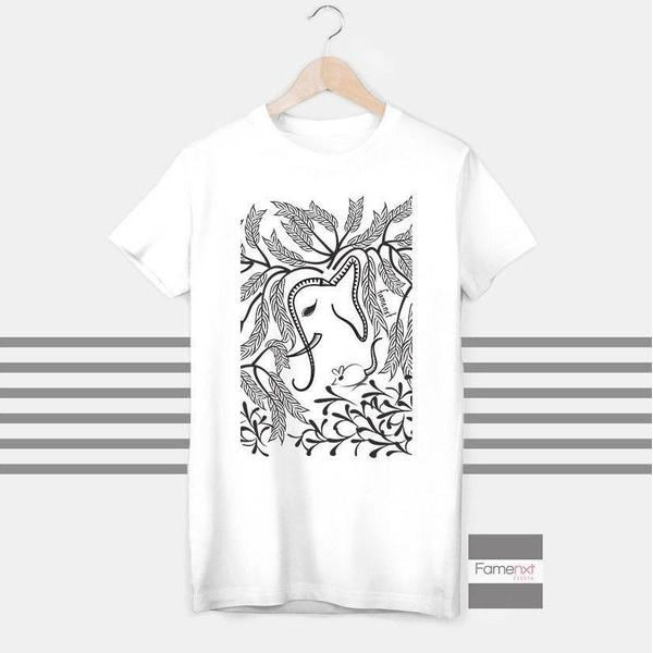 Elephant and mouse T shirt Boho T shirt for Men and Women-T shirt-famenxt