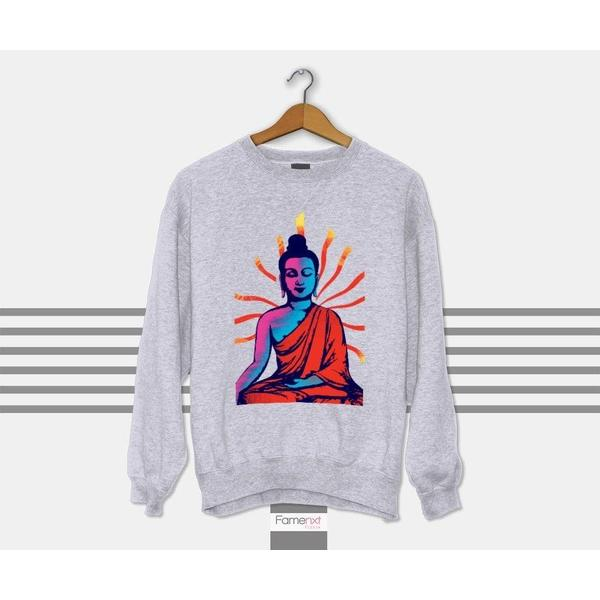 Buddha Sweatshirt Motivational Positive Vibes Graphic Jumper-Sweatshirt-famenxt