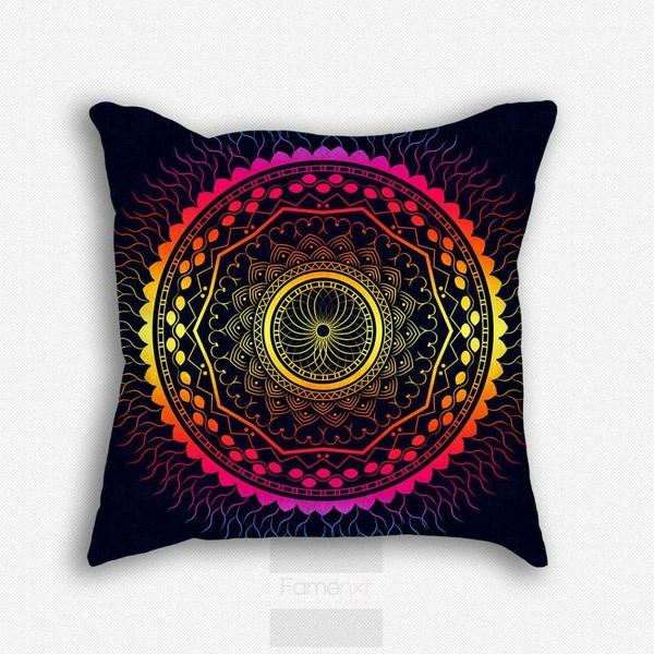Rich detailed Vibrant Mandala Throw Pillow Case-Pillows-famenxt