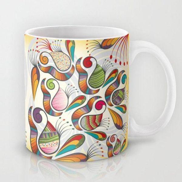 Coffee Mug, Decorative Paisley ceramic Mug, unique mug,-Mug-famenxt