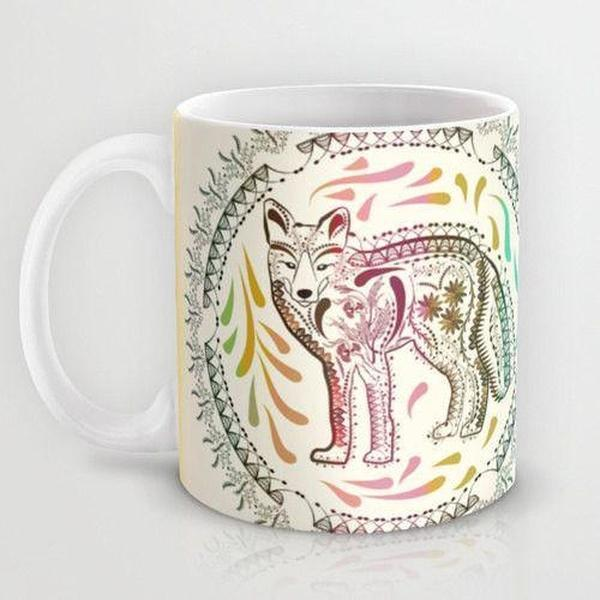 Unique Mug, Decorative fox mug, ceramic Mug, coffee mug-Mug-famenxt