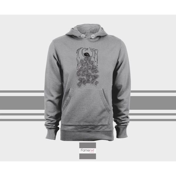 Cute Graphic Boho Hoodie, Bohemian Peacock bird, peafowl Unisex Pull over hoodies for men and women-Hoody-famenxt