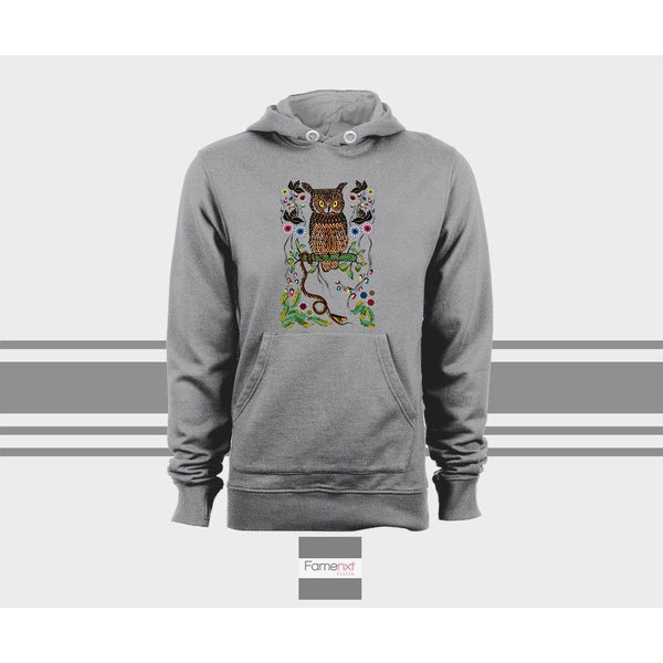 Cute Graphic owl Hoodie, Bohemian owl Unisex Pull over hoodies for men and women-Hoody-famenxt
