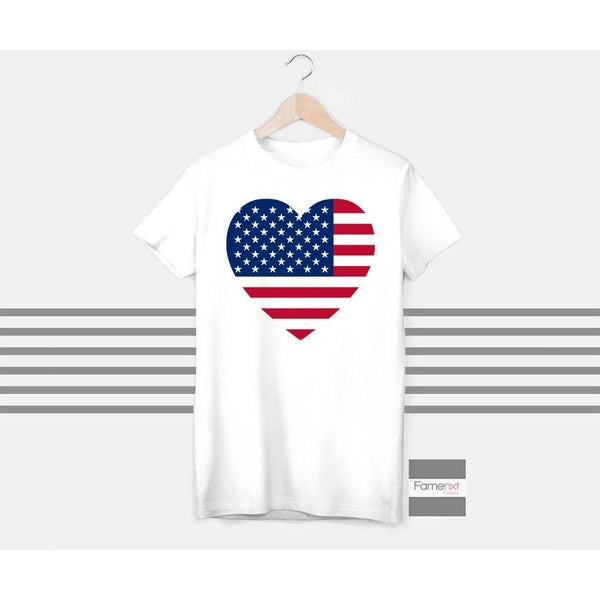 T shirt, USA flag t shirt, US t shirt, heart t shirt, for Men and Women-T shirt-famenxt