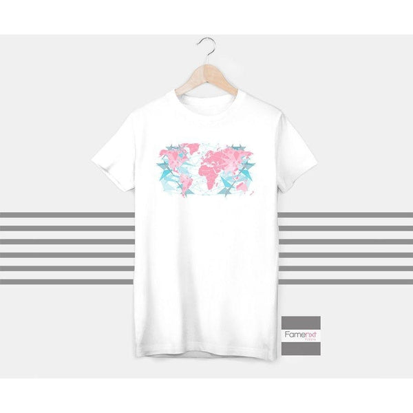 World map t shirt, abstract t shirt, Graphic T shirt for Men and Women-T shirt-famenxt