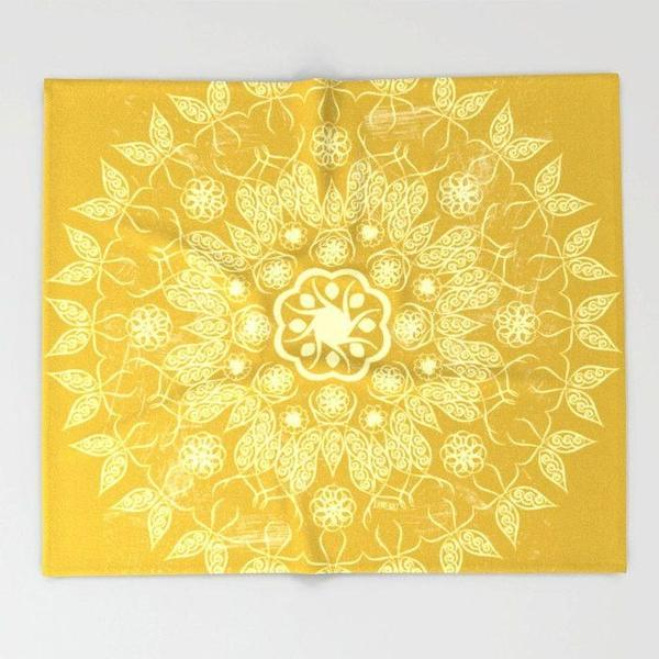 Golden Mandala Throw blanket-Throw Blanket-famenxt
