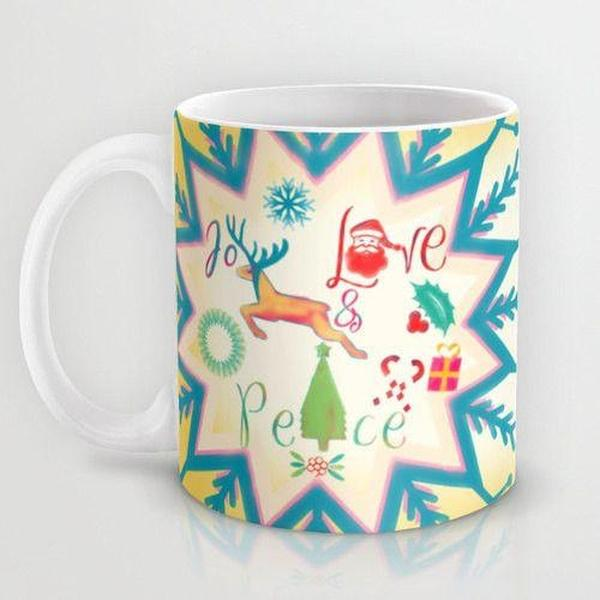 Unique Mug, Decorative Christmas mug, love joy peace mug, cute mug, ceramic Mug, coffee mug-Mug-famenxt