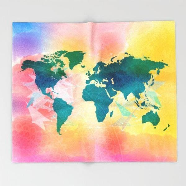Map Throw blanket-Throw Blanket-famenxt