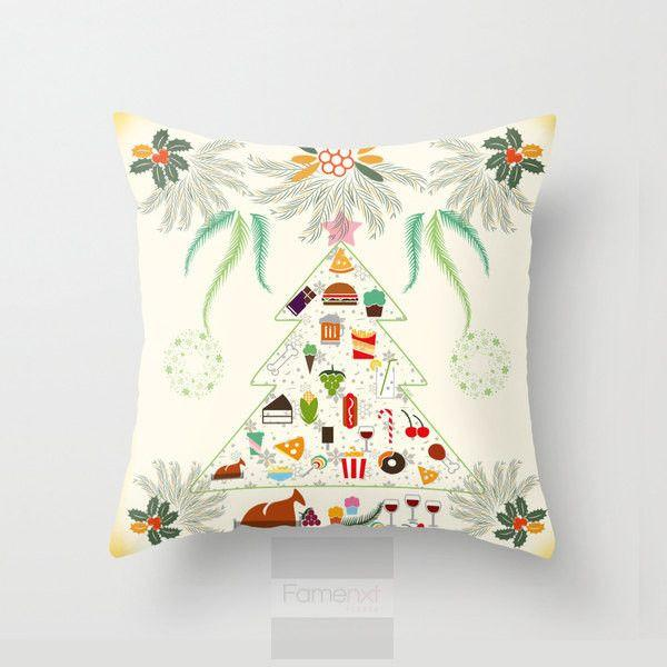 Christmas Tree Big Feast Foodie Throw Pillow Case-Pillows-famenxt