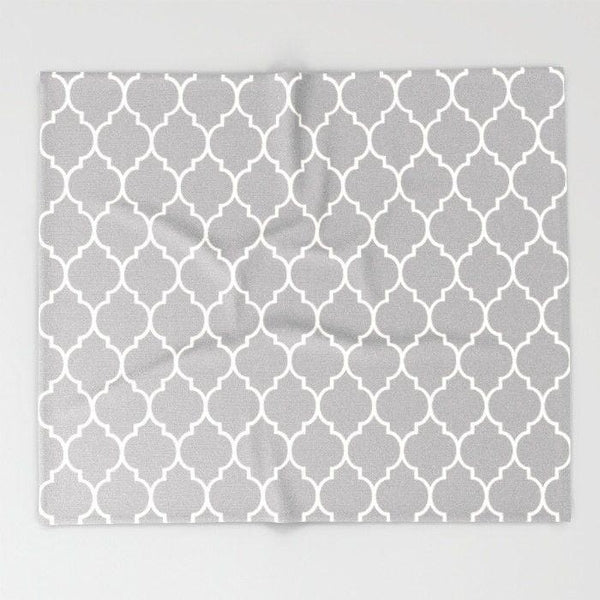 Geometric patterned gray Throw blanket-Throw Blanket-famenxt