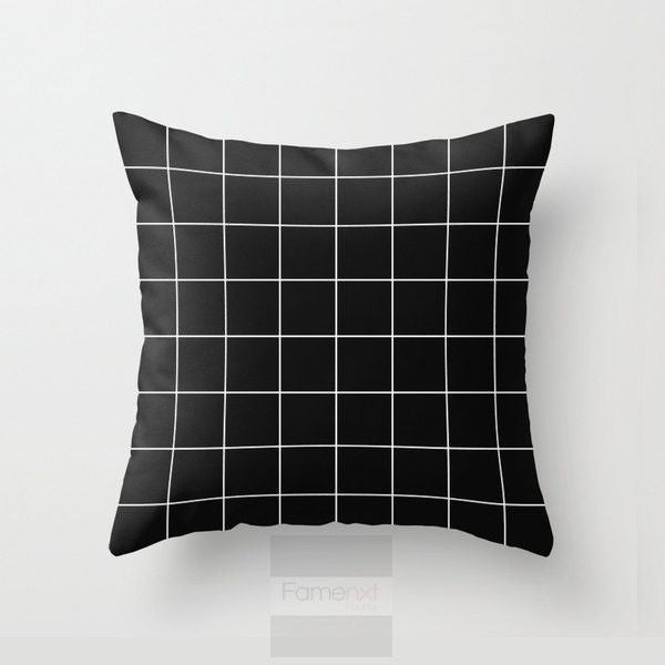 Black and white modern geometric grid Throw Pillow Case-Pillows-famenxt