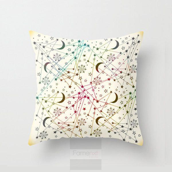 White Galaxy sun moon and stars Throw Pillow Case-Pillows-famenxt