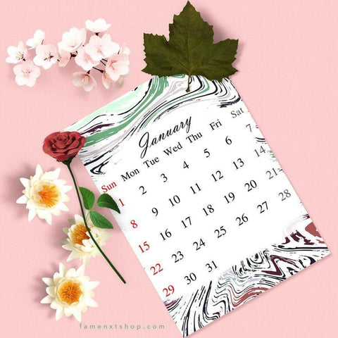 Free Monthly Calendar Printable, instant download, January-Calendar Digital Download-famenxt